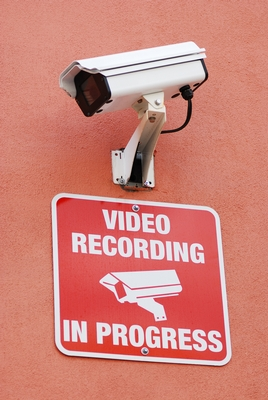 Security Camera and Warning Sign